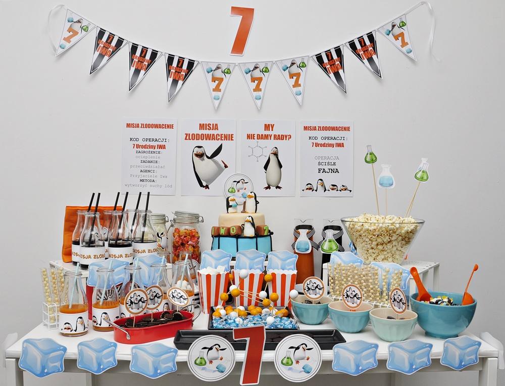 Słodki Stół Urodziny Dla Dziecka W Stylu Pingwinów Z Madagaskaru