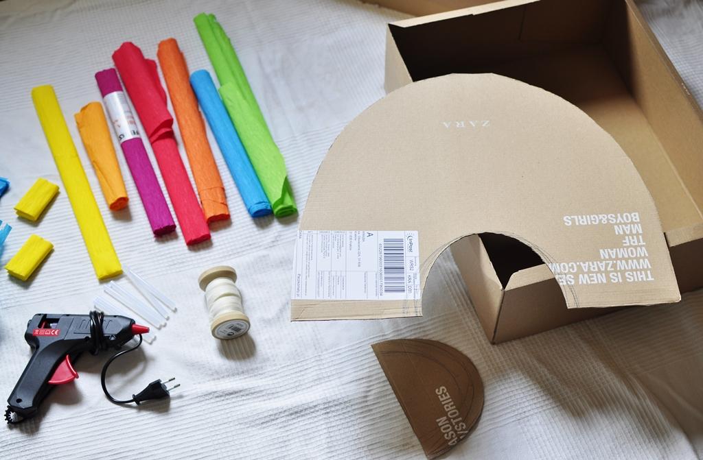 jak zrobić piniatę z kartonu - elementy potrzebne do jej wykonania