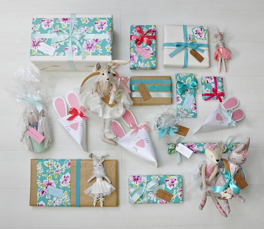 jak pakować prezenty w wiosennych kolorach