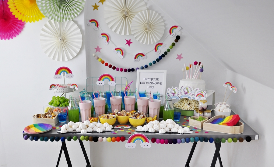 Chłodny Przyjęcie Urodzinowe w stylu JEDNOROŻCA i TĘCZY – nasze LU05